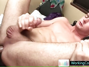 Matthew gets his tight anus fucked in the office by