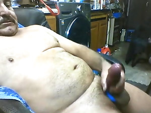 Mature beefy dad milking his fat cock and cumming twice