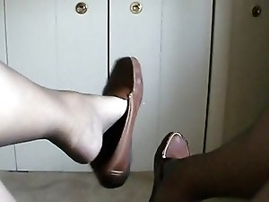 Shoe Dangle on Pantyhose Foot and Legs