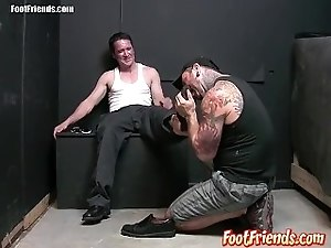 Perverted gay dude Kent goes down on Jack Francos feet