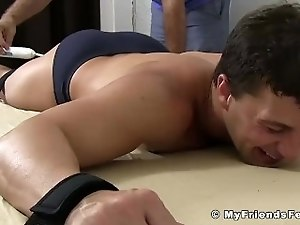 Handsome young amateur Aldo foot tickled by mature master