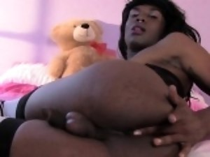 Black trap jerking her hard BBC
