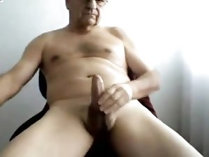 Grandpa play with the cock